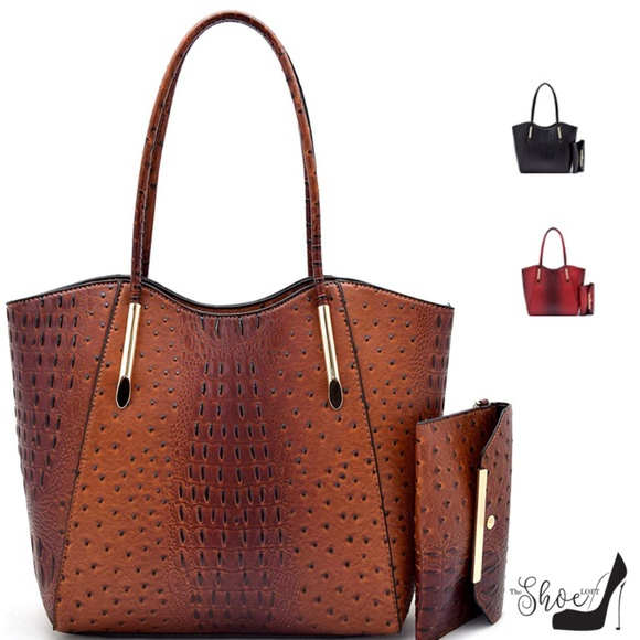 My Bag Lady Online Handbags - Veda Ostrich Tote and Clutch Set